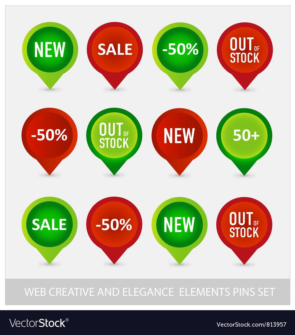 Web pins navigator symbols set vector image