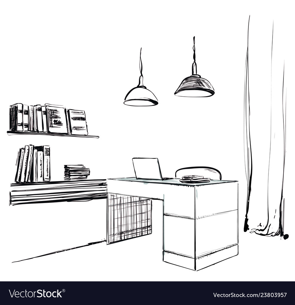 Workspace office sketch furniture hand drawn