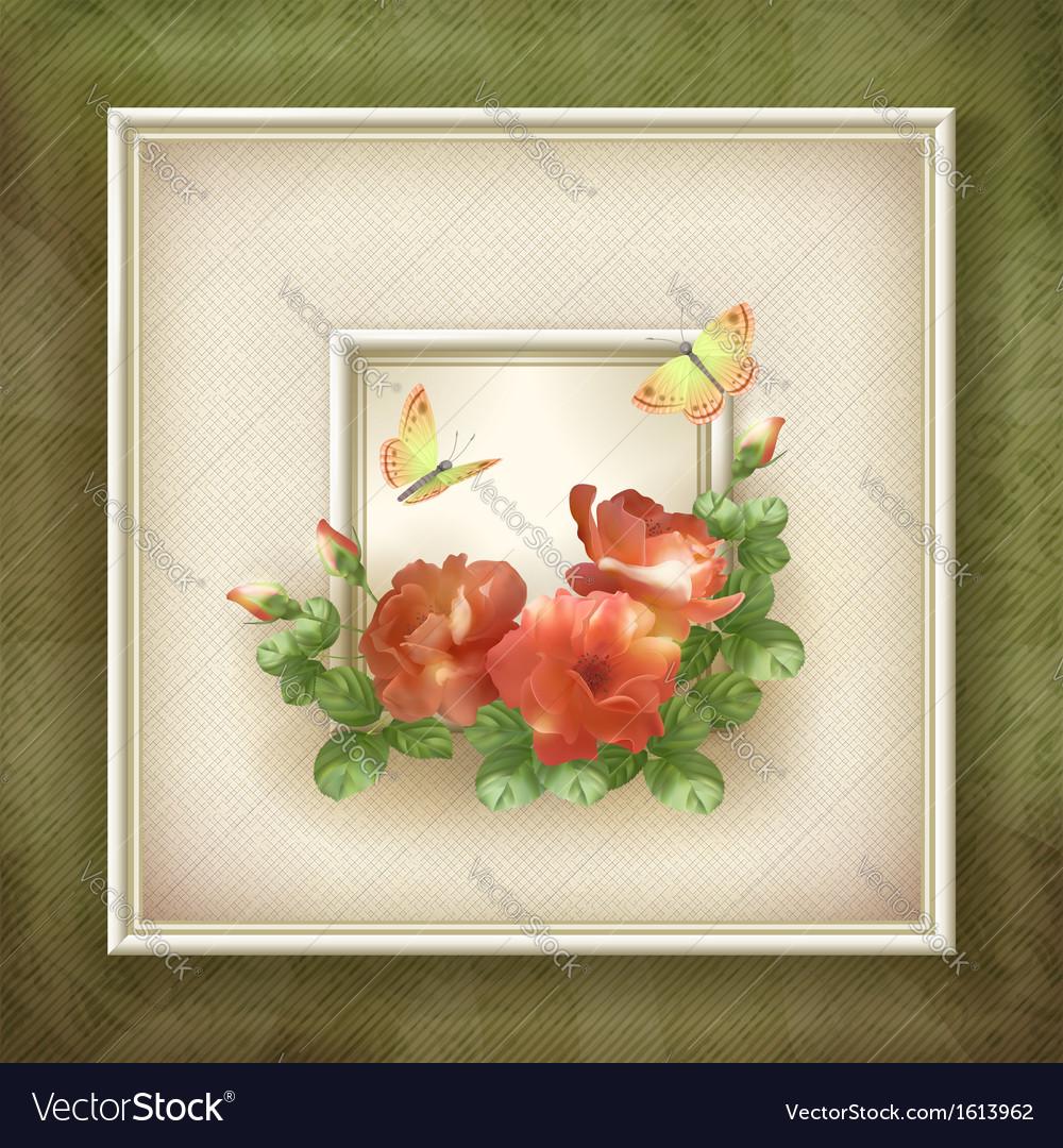 Border frame background flower butterfly design vector image