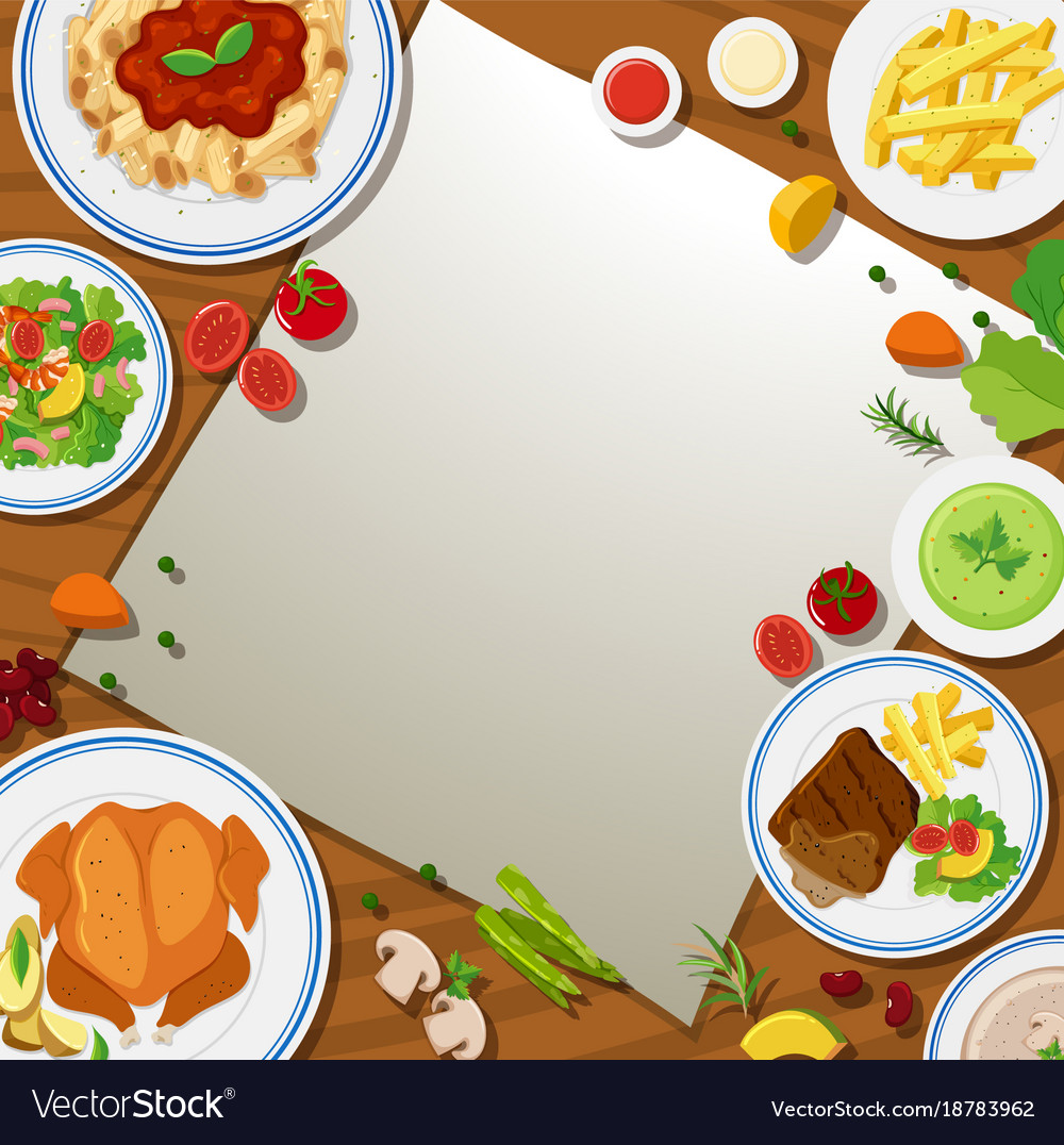 border template with different food in the plates vector image