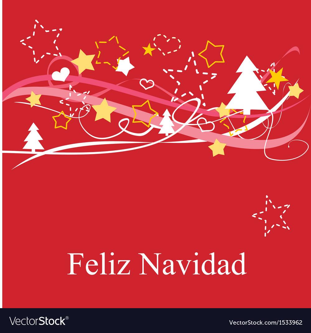 Christmas Card In Espanol Feliz Navidad Royalty Free Vector