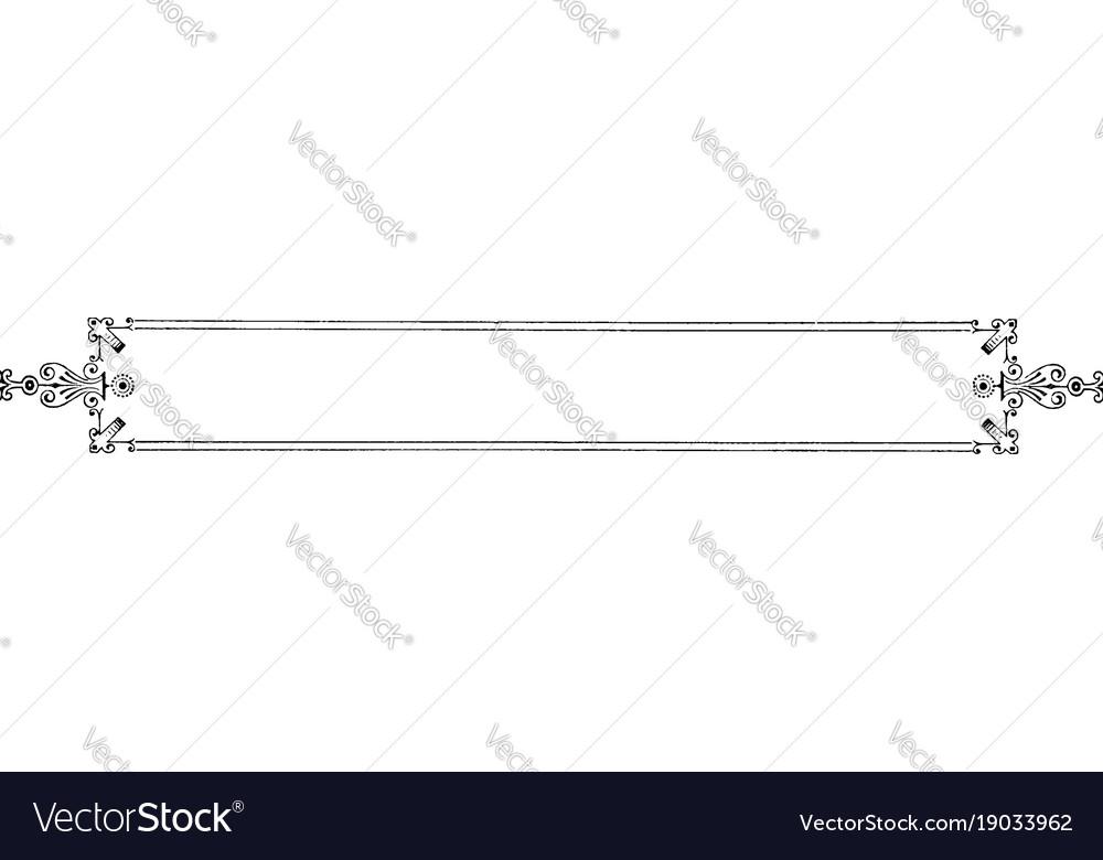 Filigree banner has a double line border vintage vector image