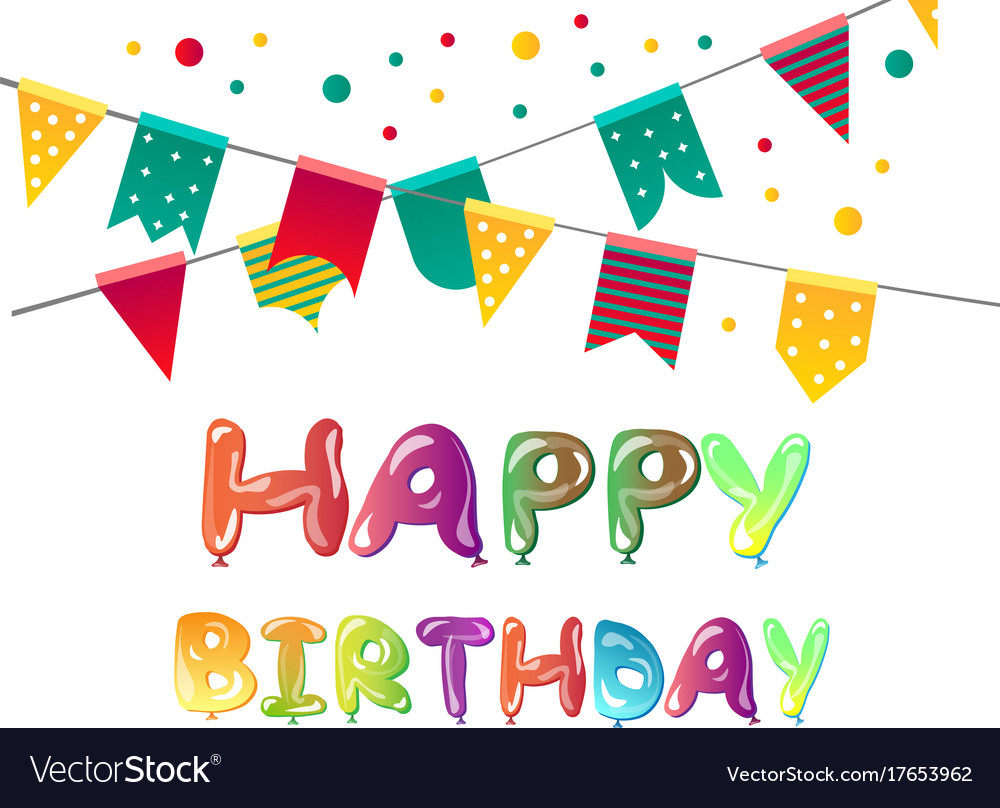 Happy birthday greeting cards with balloon vector image m4hsunfo
