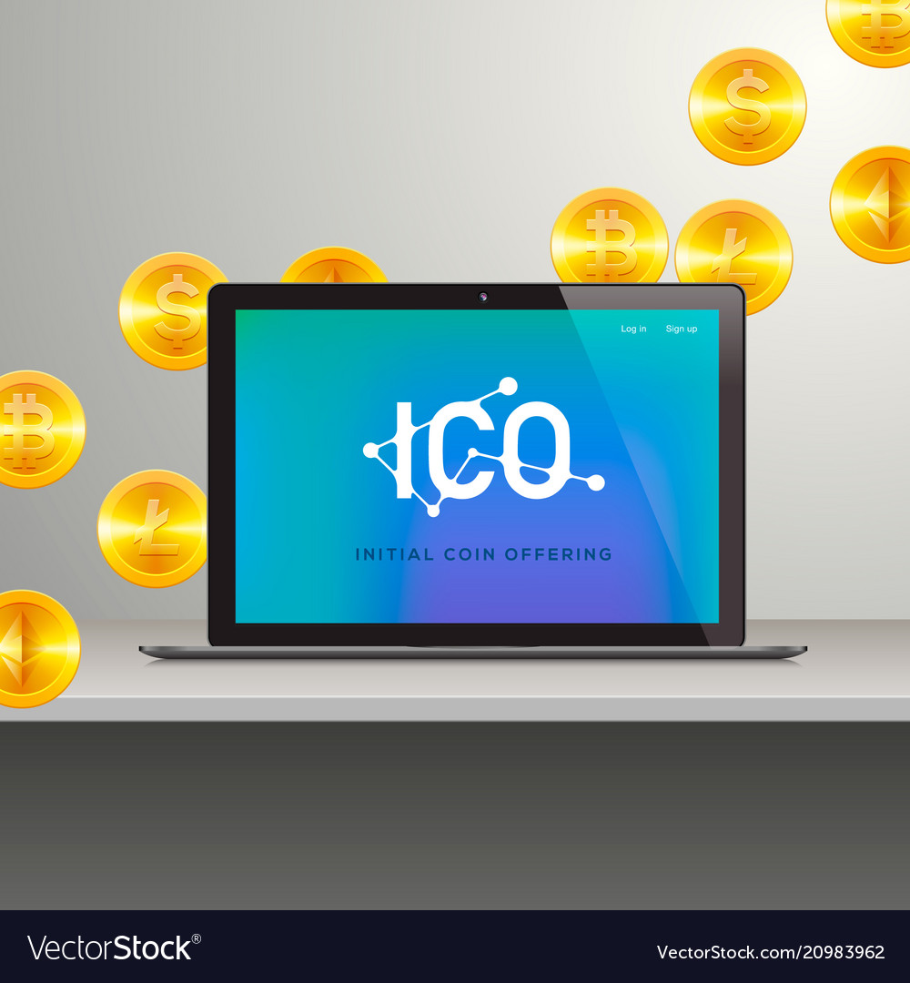 Ico laptop with abstract ico interface on screen