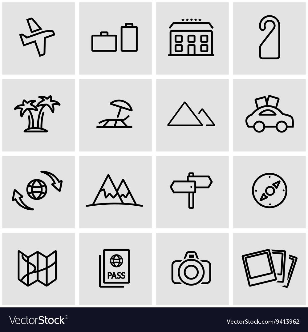 Line travel icon set