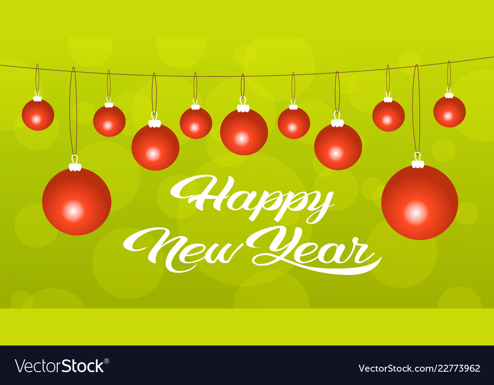 Merry christmas happy new year concept red balls