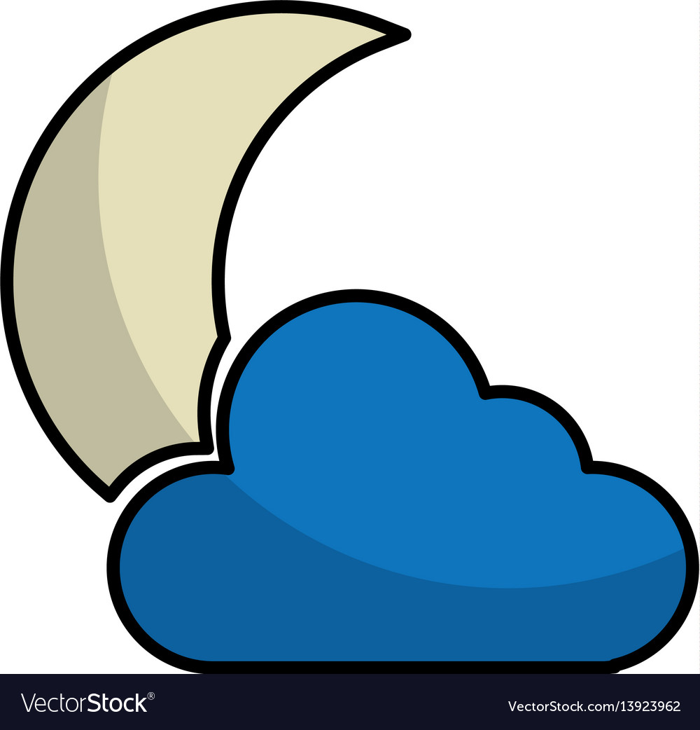 Night cloudy weather isolated icon