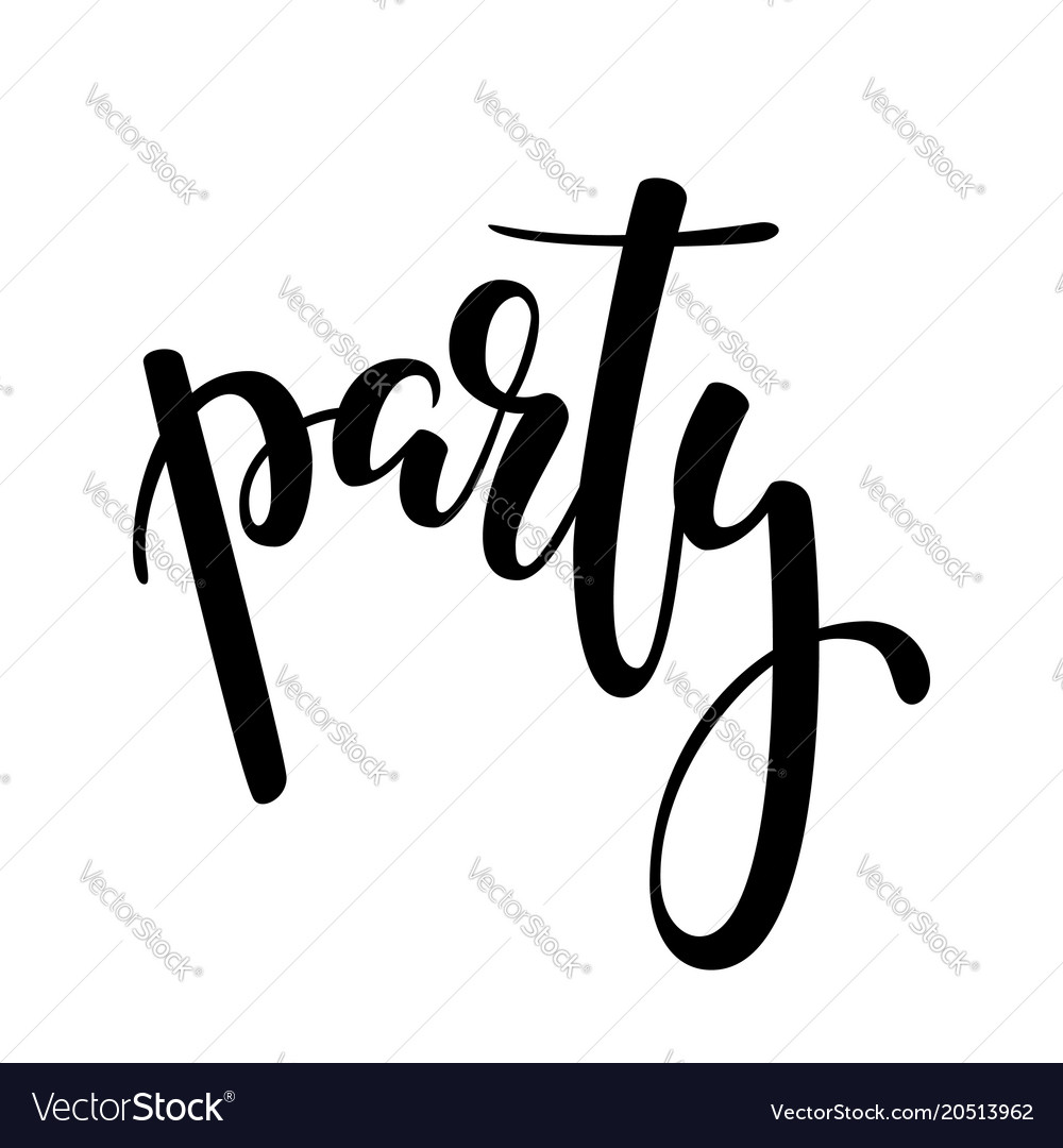 Party hand drawn brush pen lettering on isolated