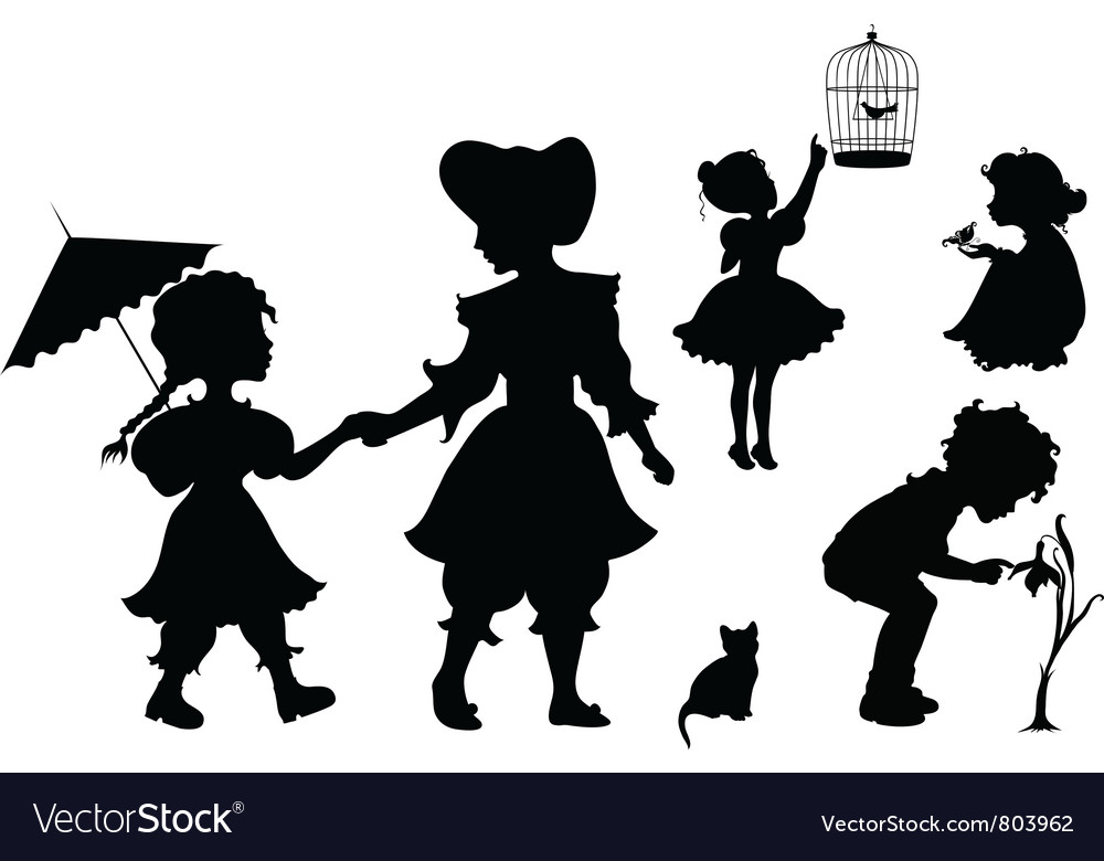 Set of silhouettes playing kids