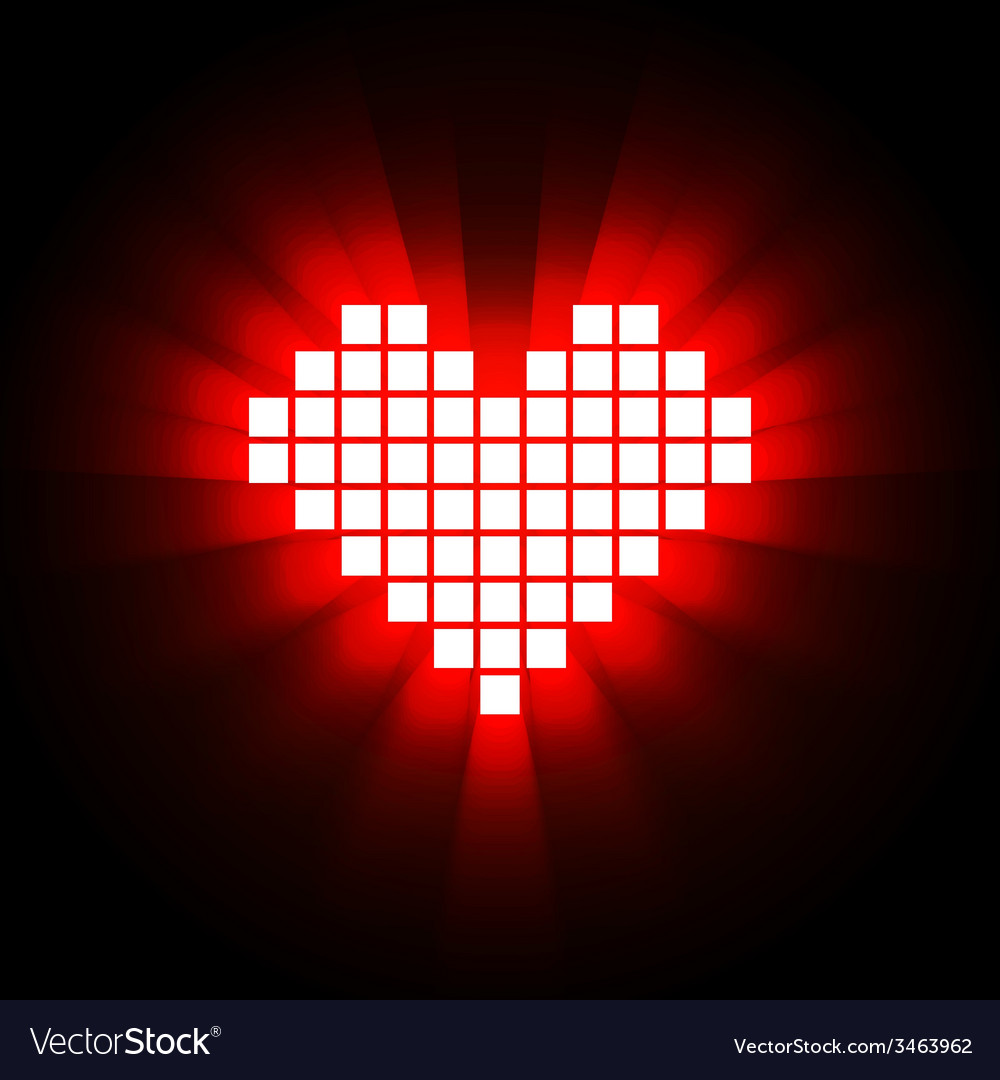 Shining pixel heart for Valentines day designs