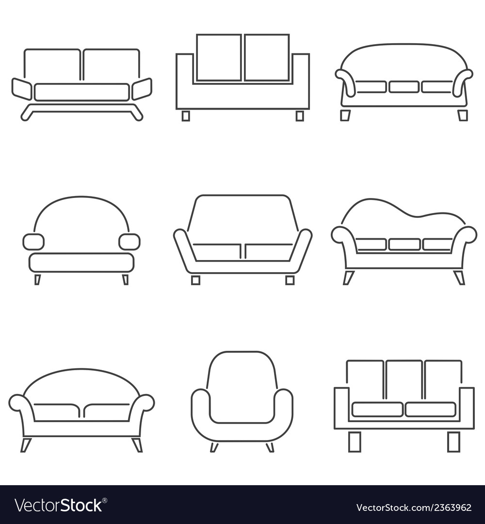 Sofa Icons vector image