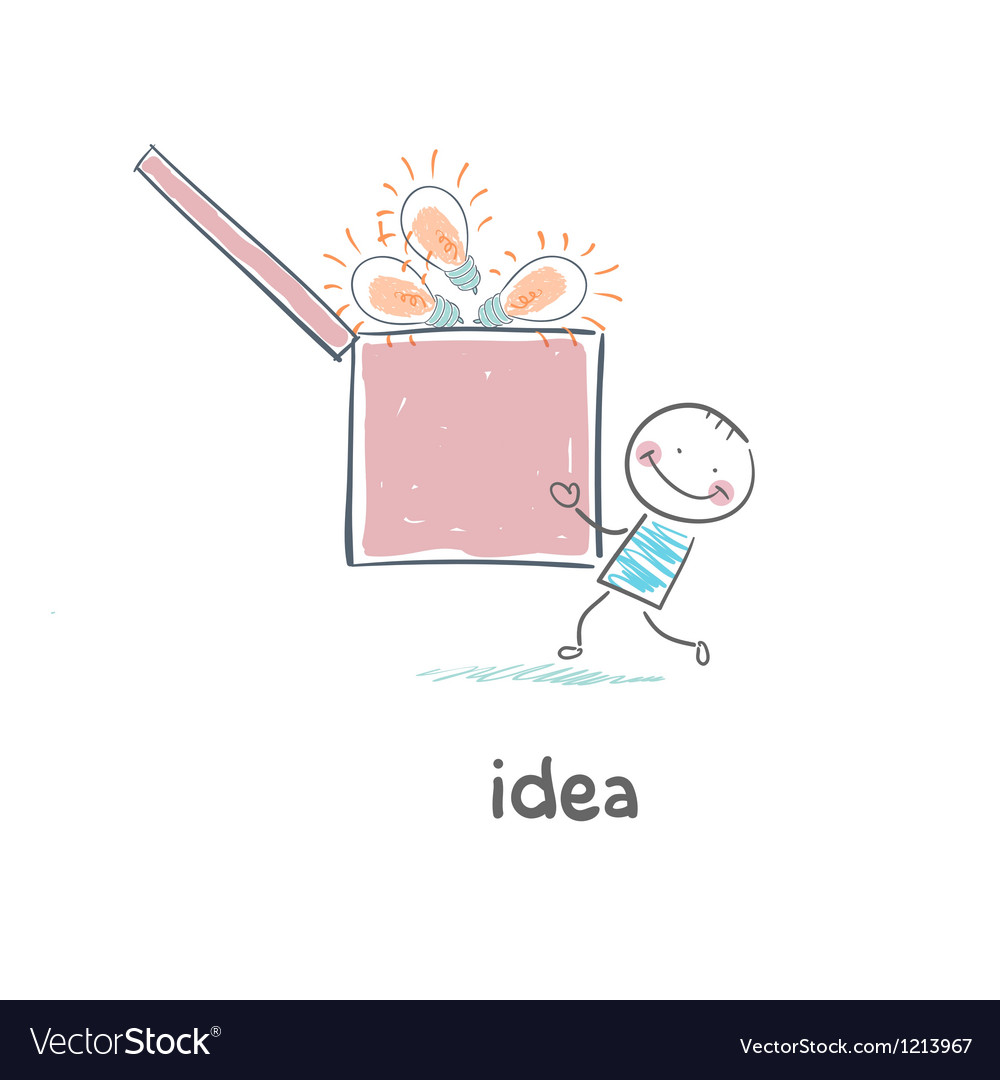 A man carries a box of ideas Concept ideas vector image