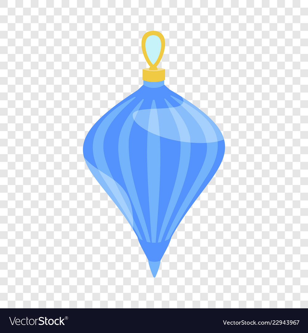 Blue fir tree toy icon flat style