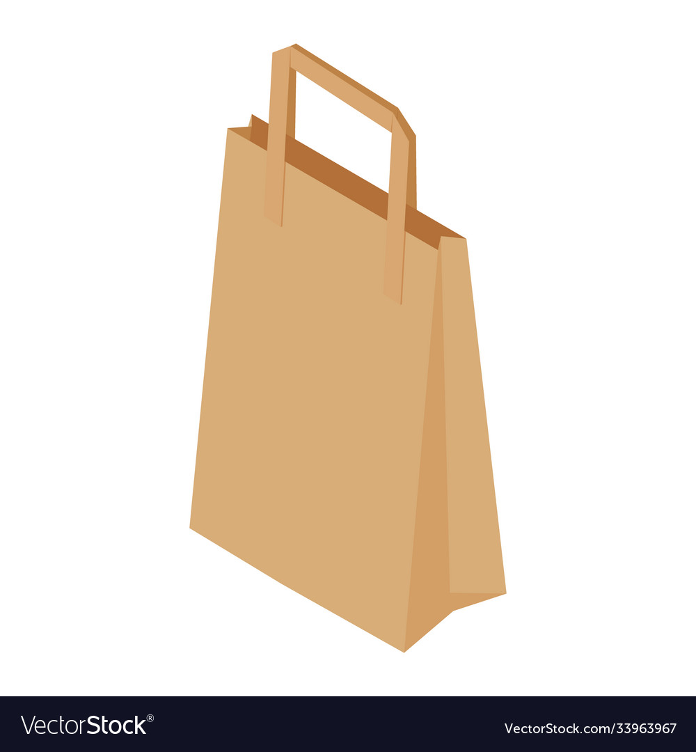 Brown recycled paper shopping bag on white