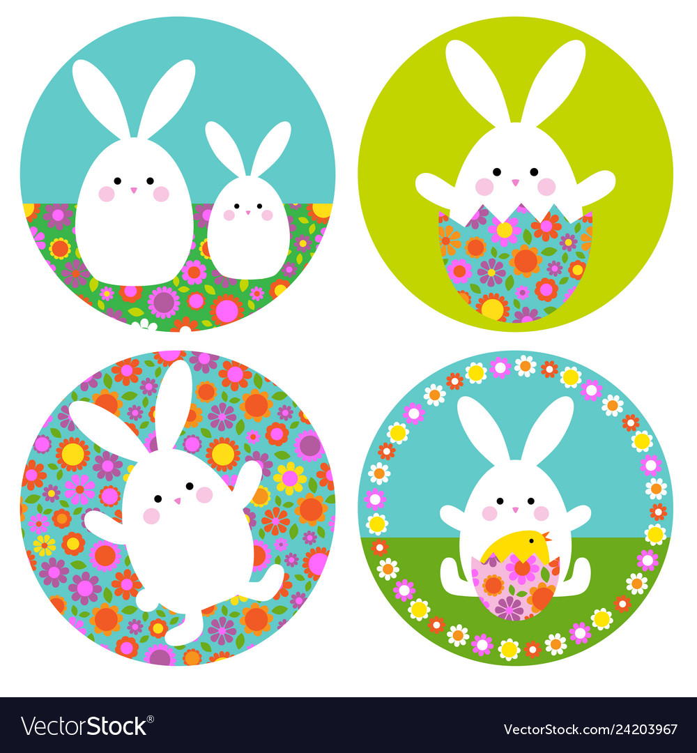 Easter bunny graphics with floral patterns on