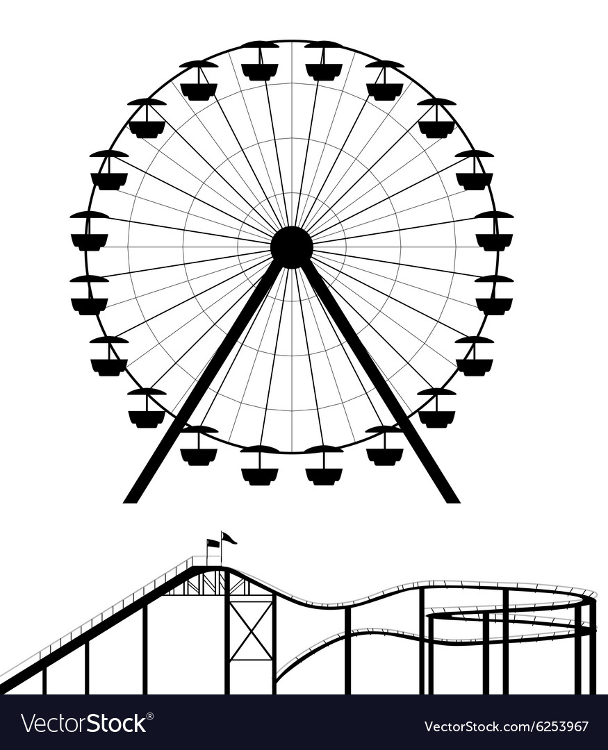 Ferris wheel and roller coaster silhouette