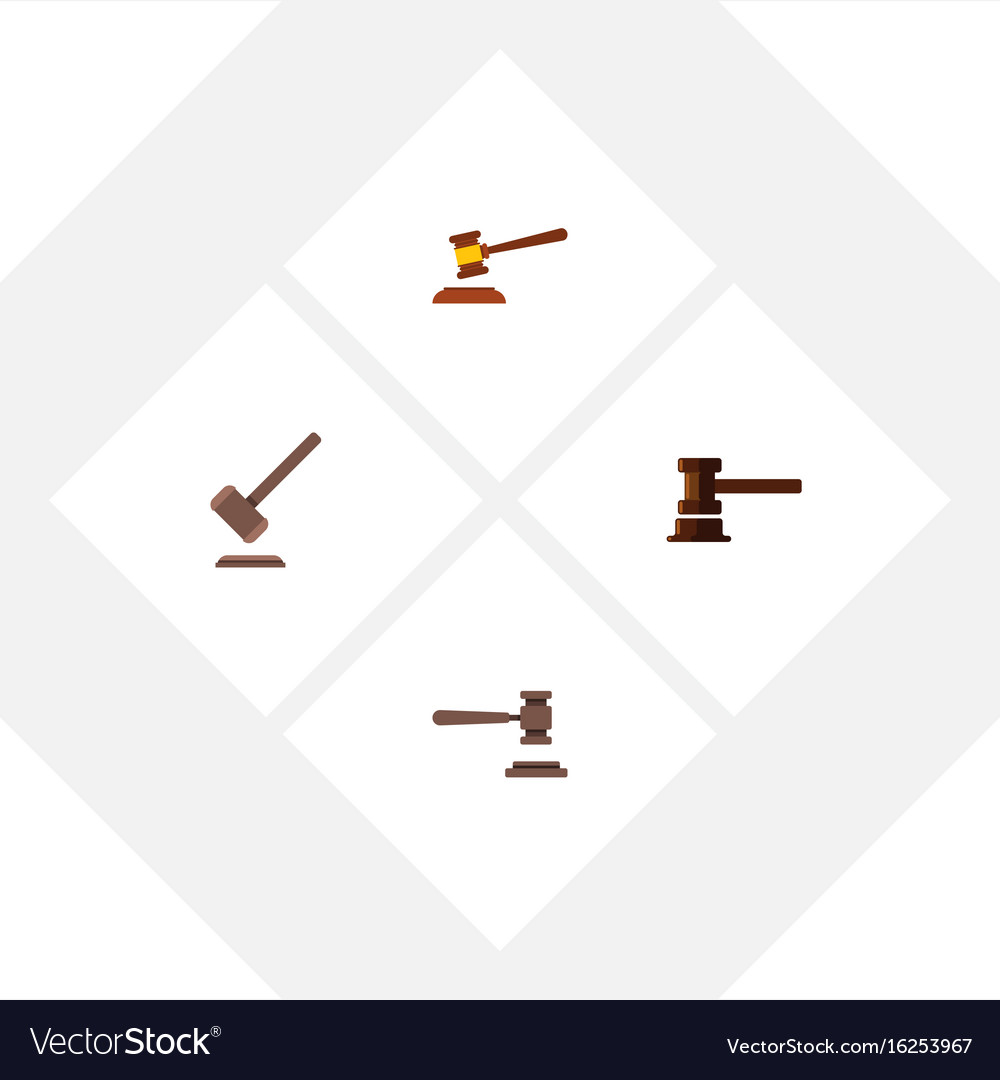 Flat icon court set of hammer legal government