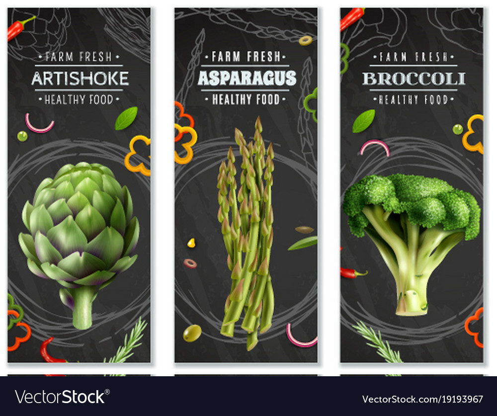 Healthy food vertical banners with vegetables