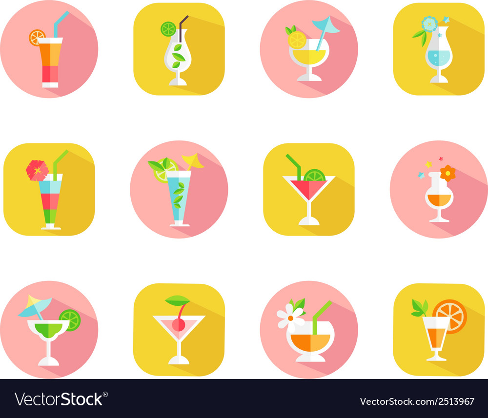 Icons of tropical cocktails vector image
