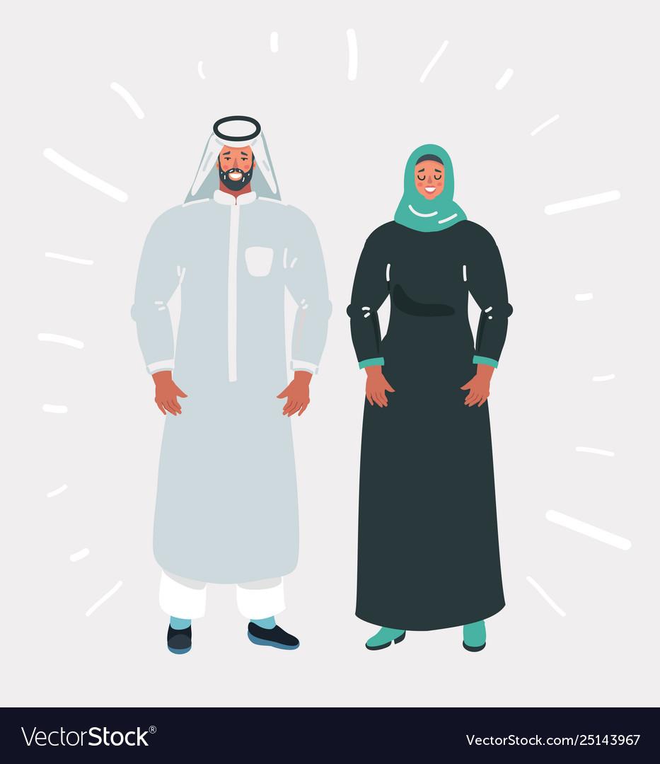Muslim couple wearing traditional dress