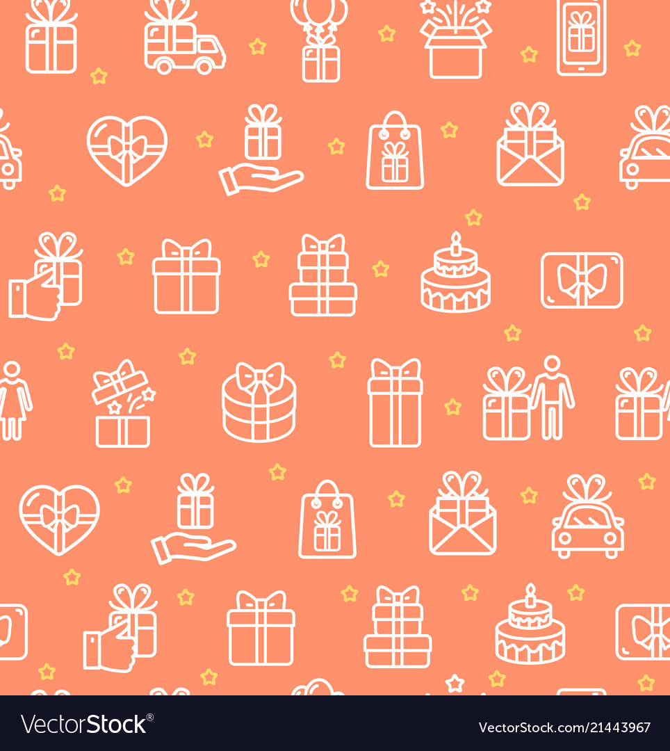 Present gift signs seamless pattern background