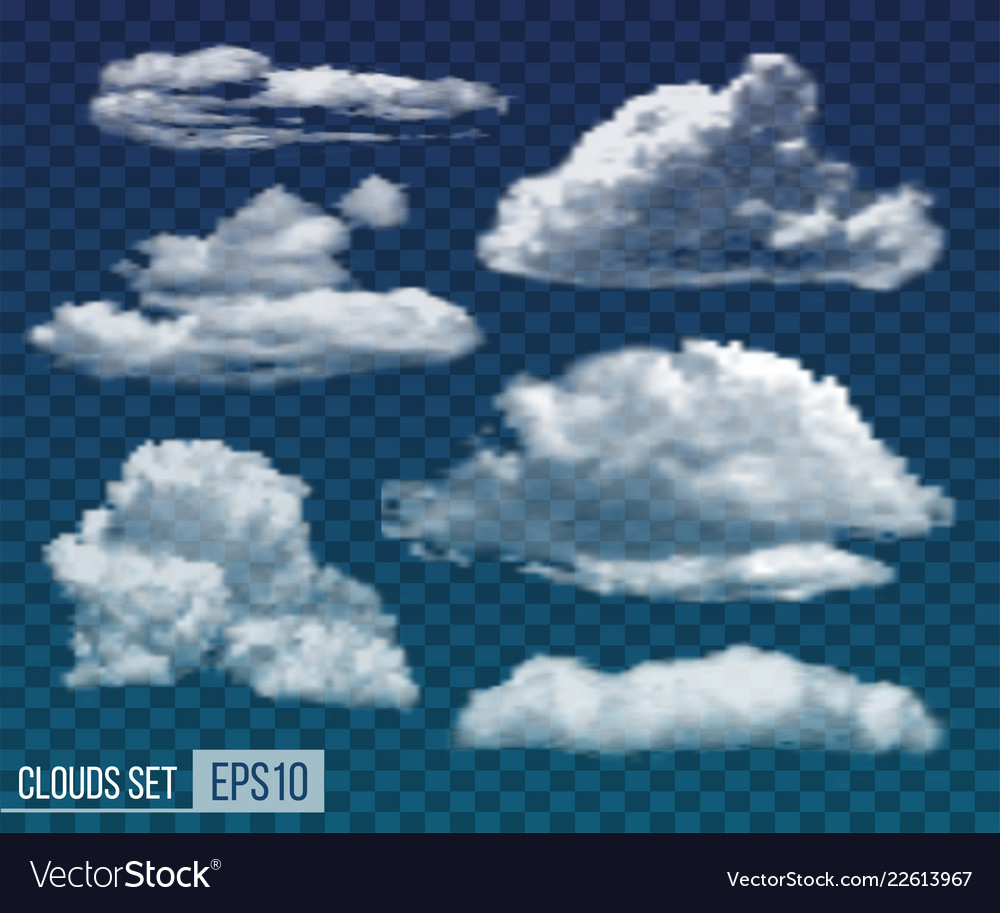 Set of realistic transparent night clouds