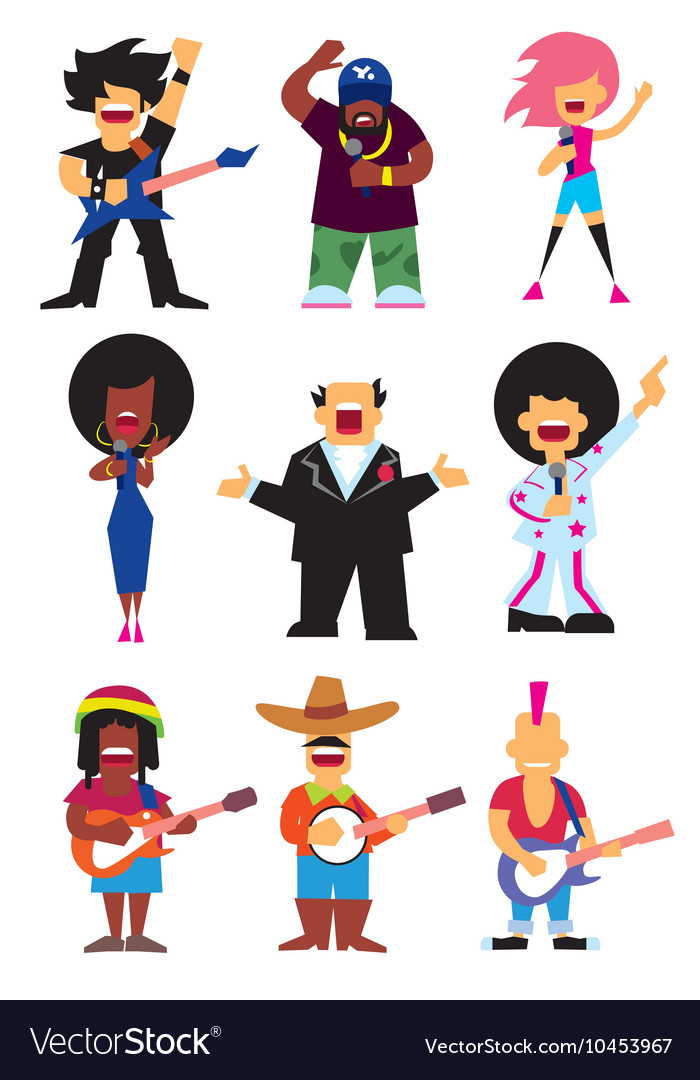 Singers silhouette set vector image