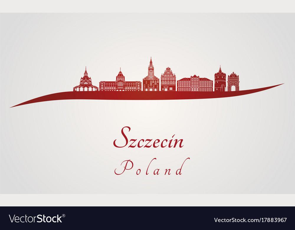 Szczecin skyline in red