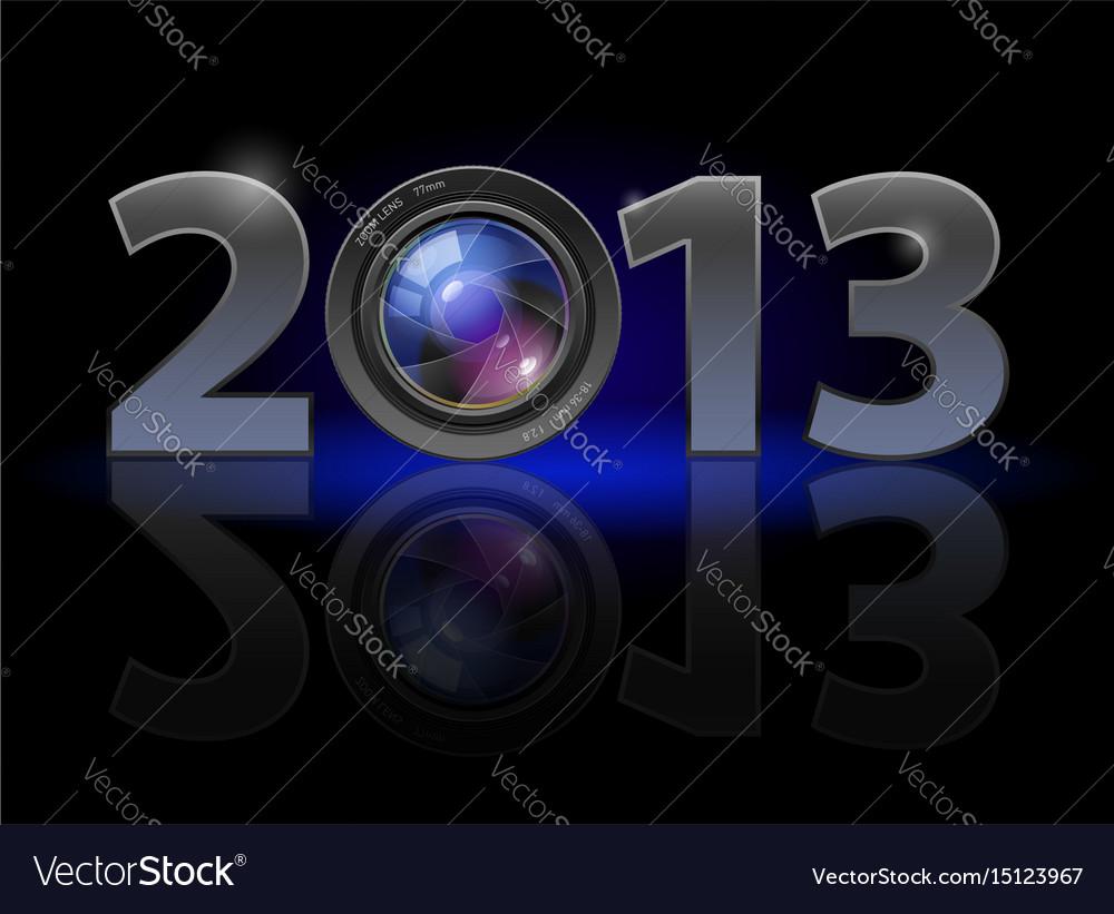 Twenty thirteen year photo lens on black vector image