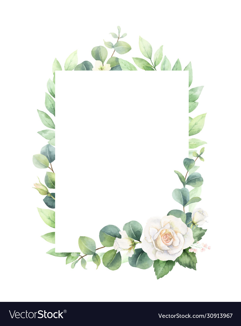 Watercolor frame with eucalyptus leaves and
