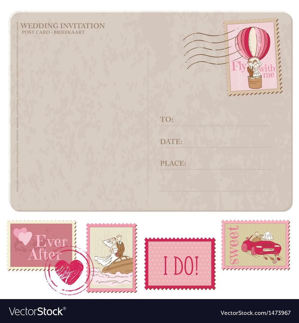 Wedding Invitation - Vintage Postcard with Postage