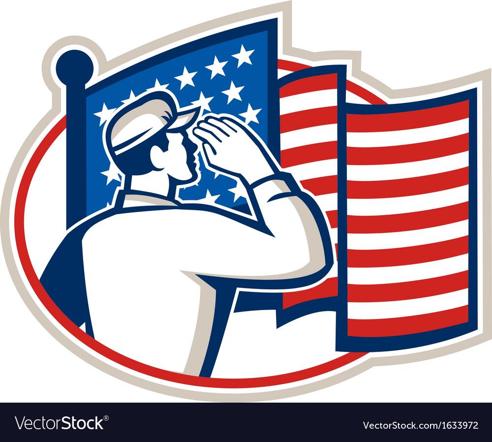 American Soldier Salute Flag Retro vector image