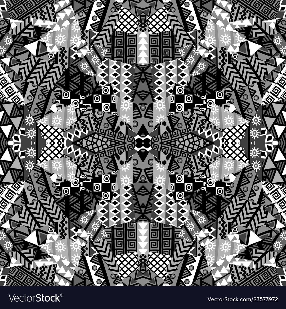 Black and white kaleidoscope patchwork background