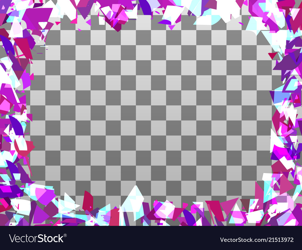 Broken particle frame on a transparent background