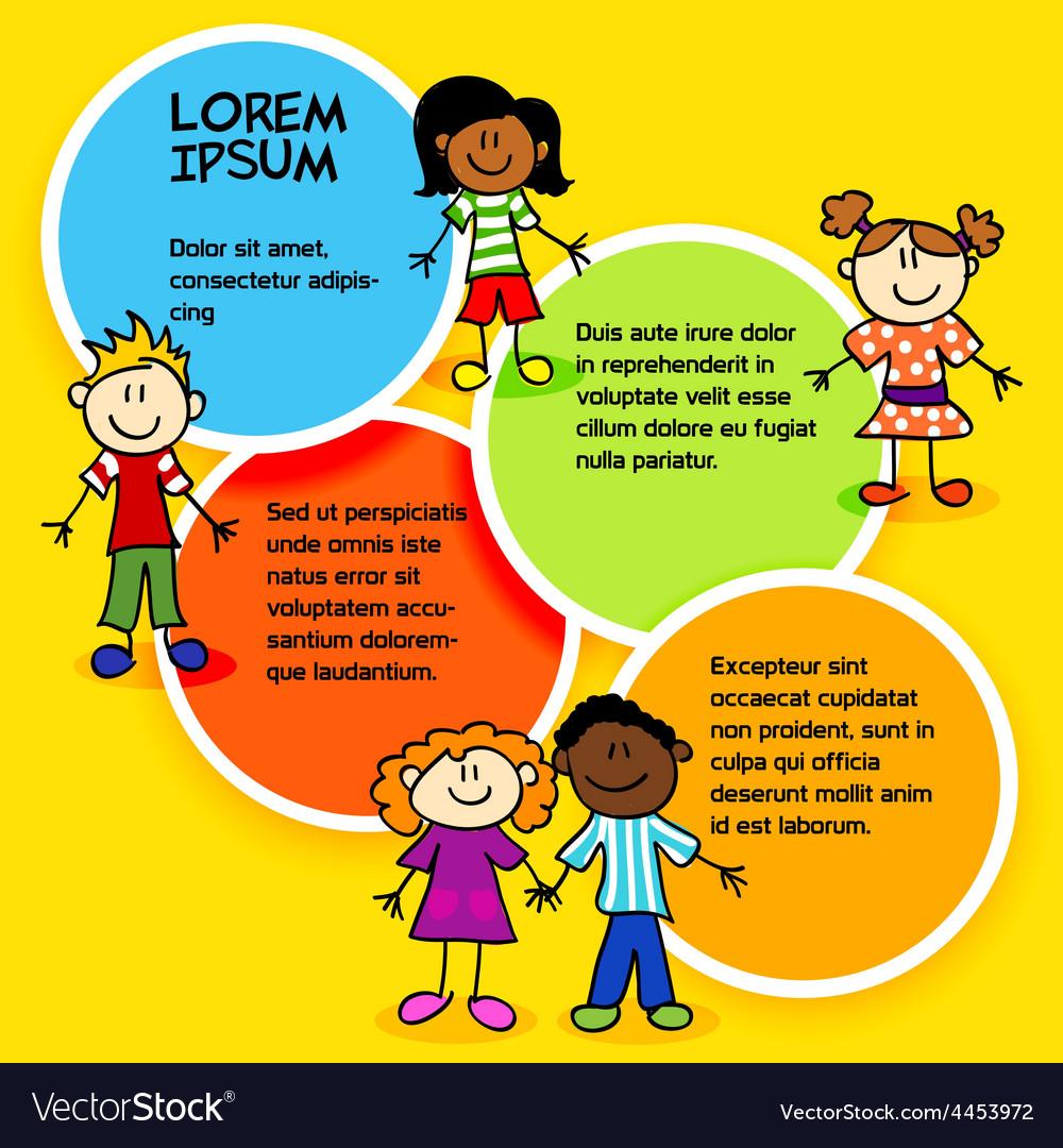 Cartoon kids and color circles-2 vector image