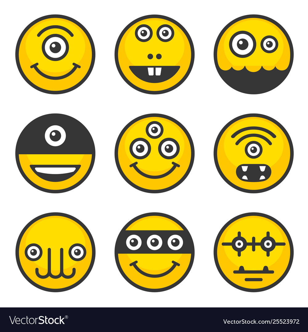 Cute alien monsters set yellow avatar icons