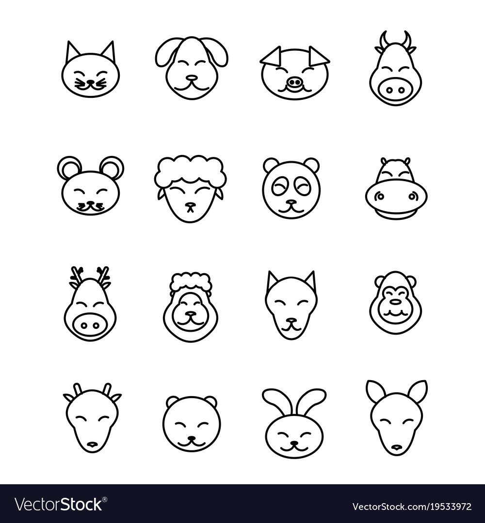 Different animals icons set pet