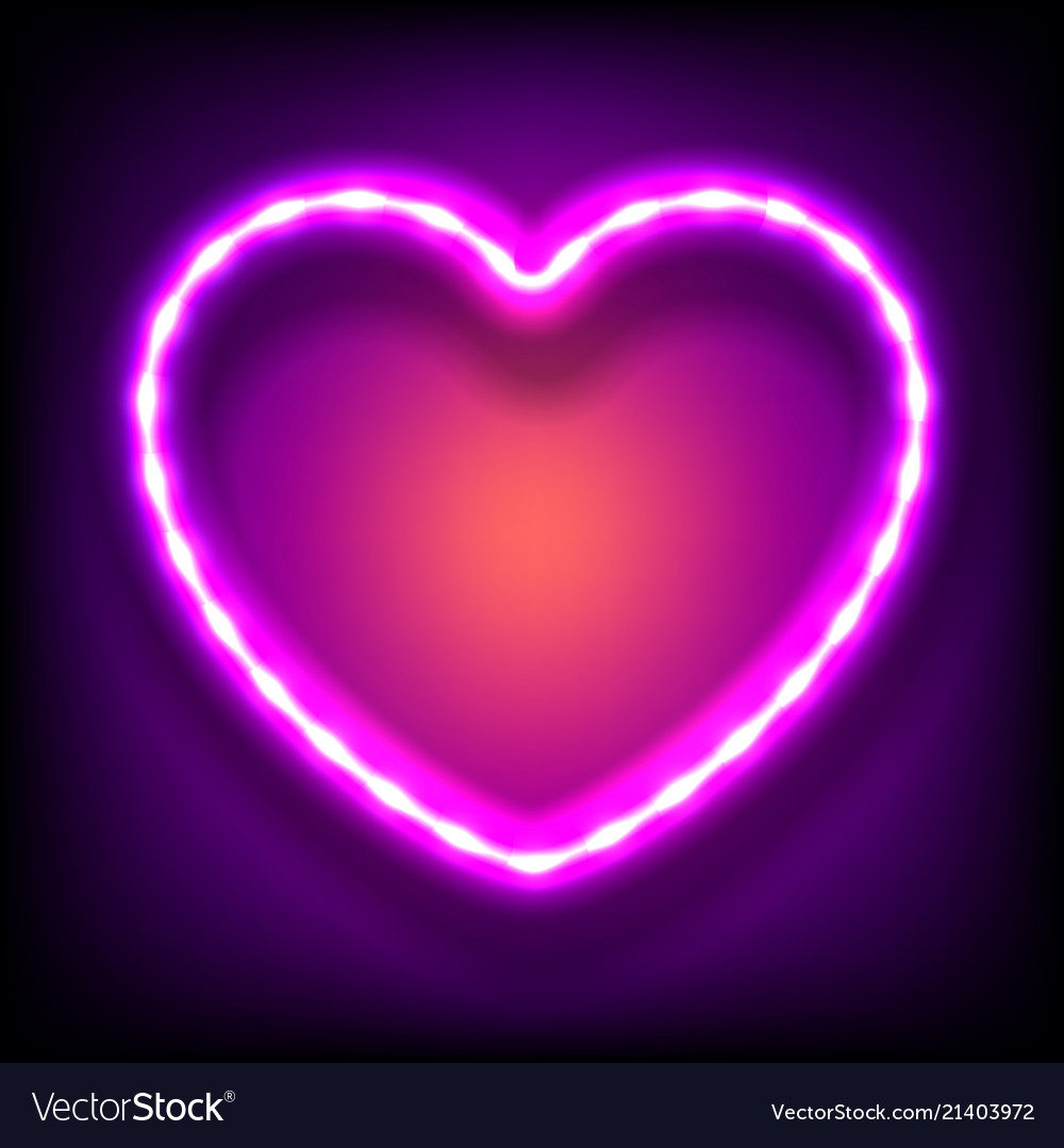Glowing neon frame in shape of heart with light