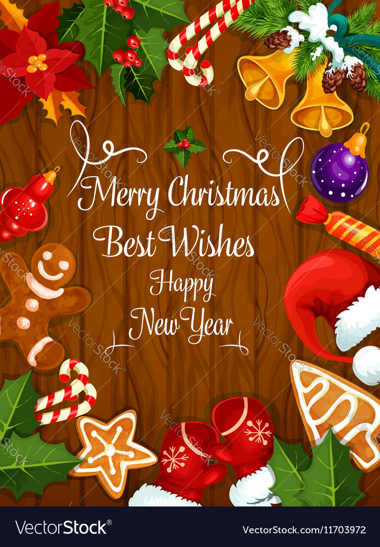 Merry christmas new year wishes greeting card vector image m4hsunfo