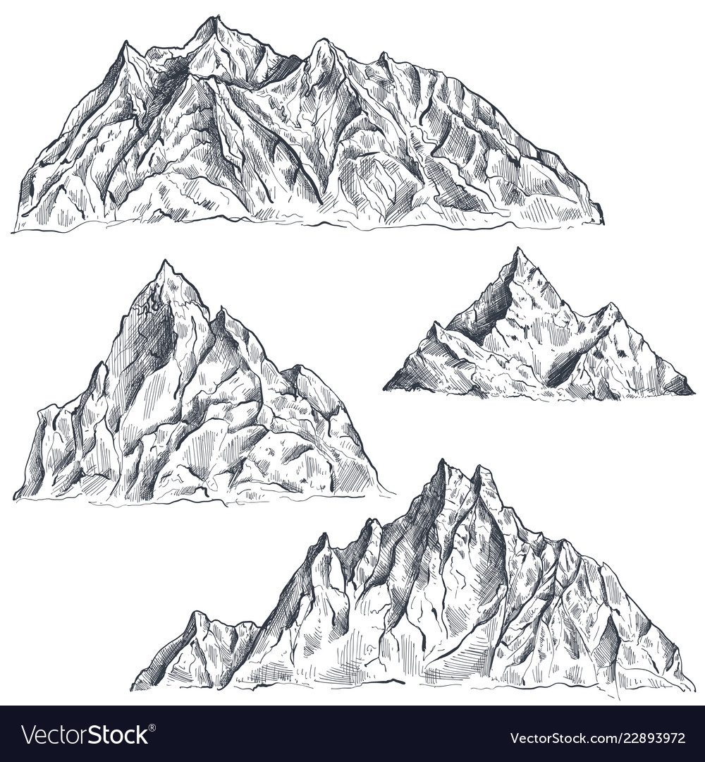 Set of hand drawn graphic mountain ranges