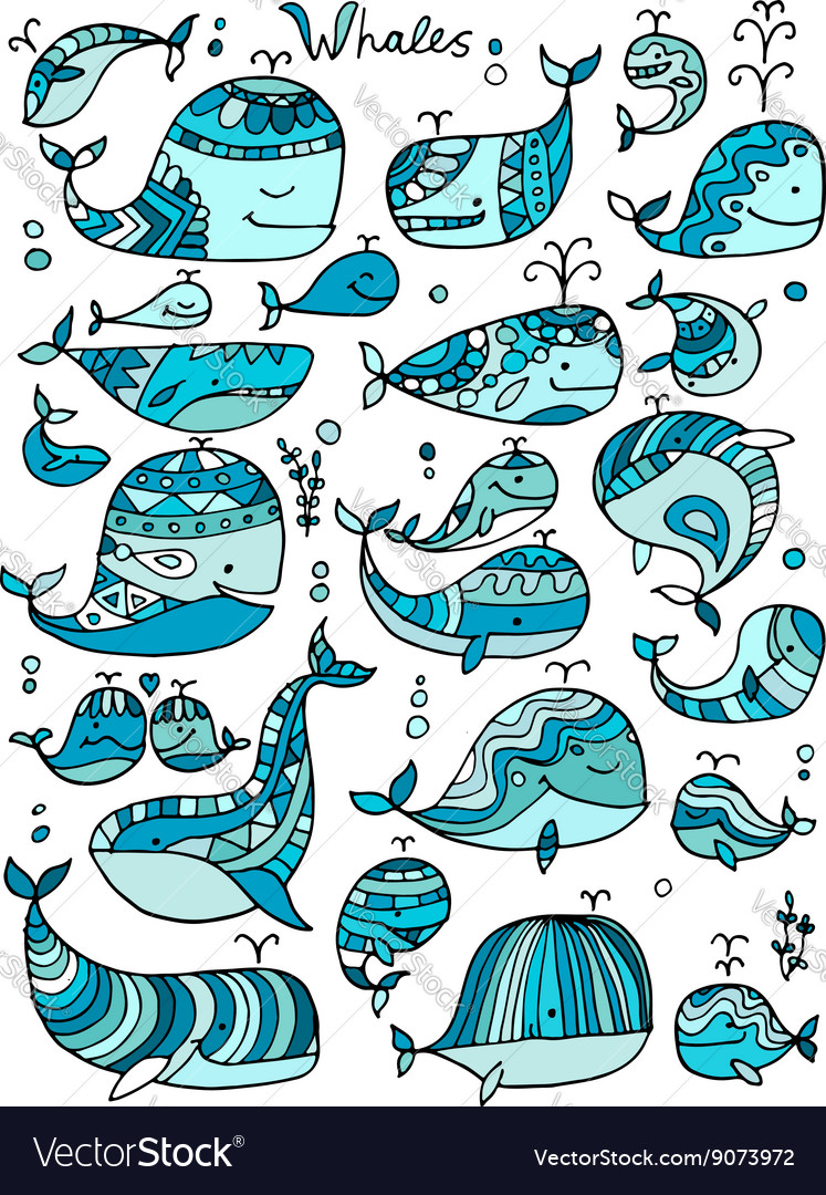 Whales collection sketch for your design