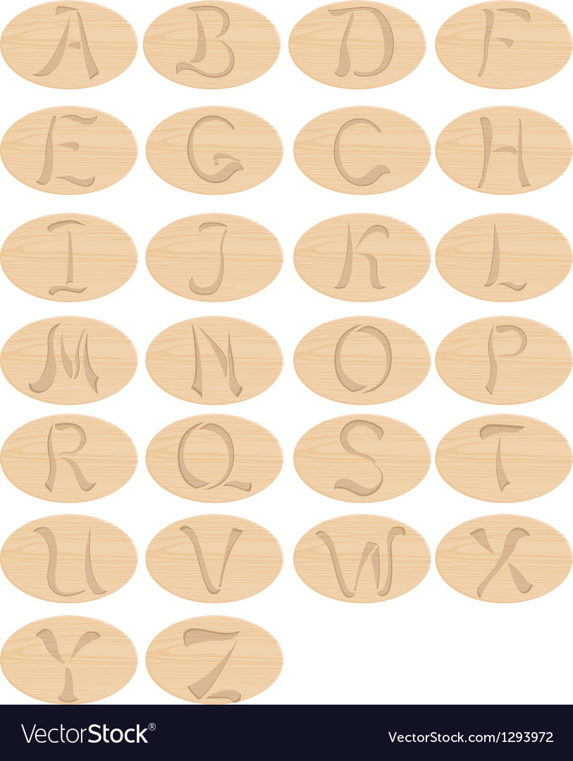 Wooden alphabet vector image