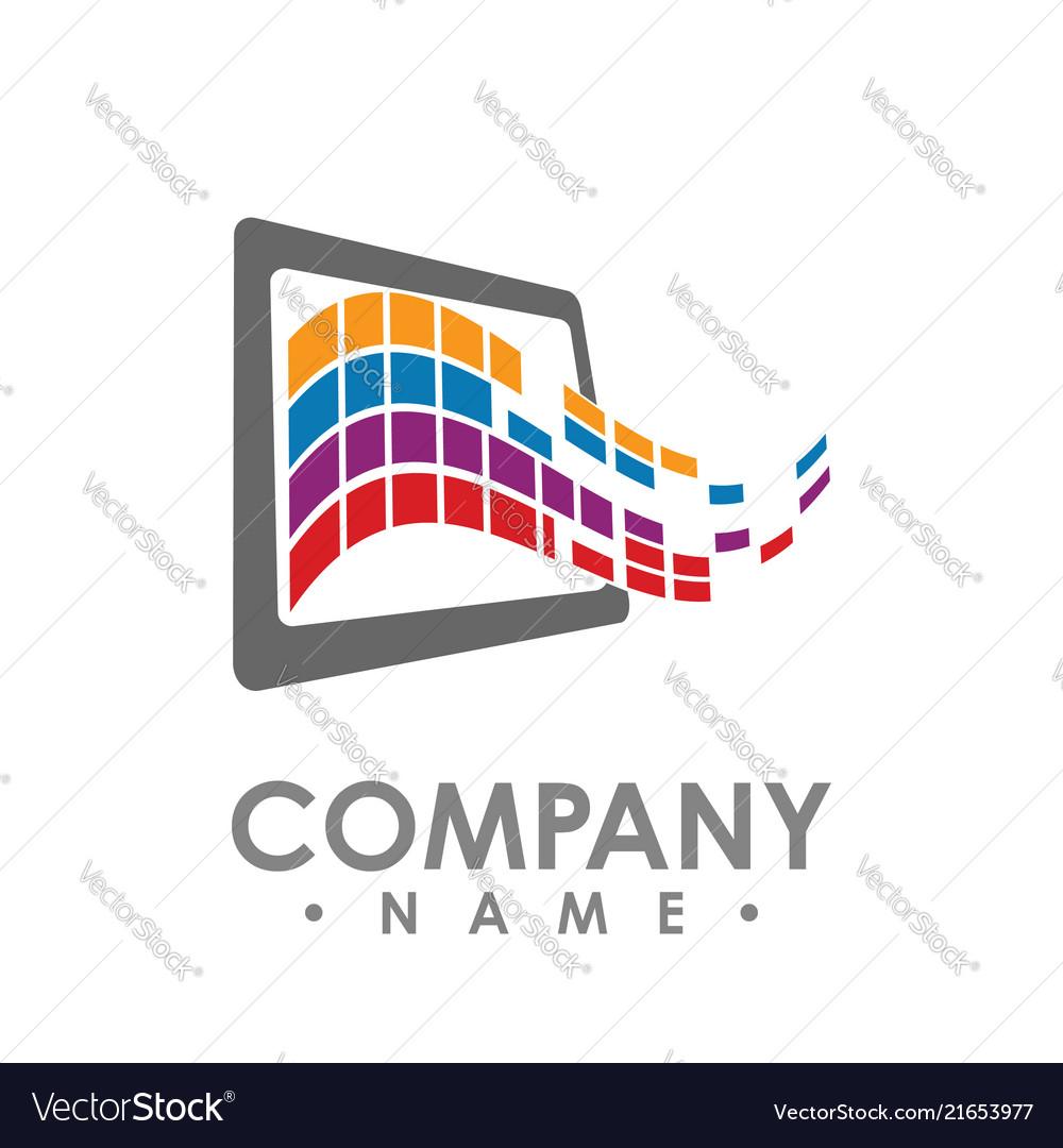 Abstract data tech logo design tablet data share