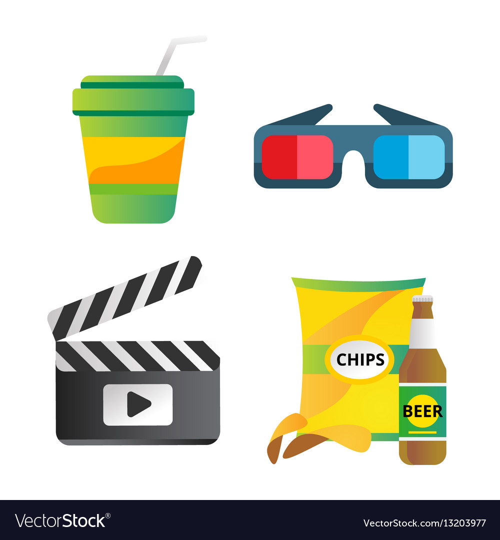 Clapper board and cinema icons