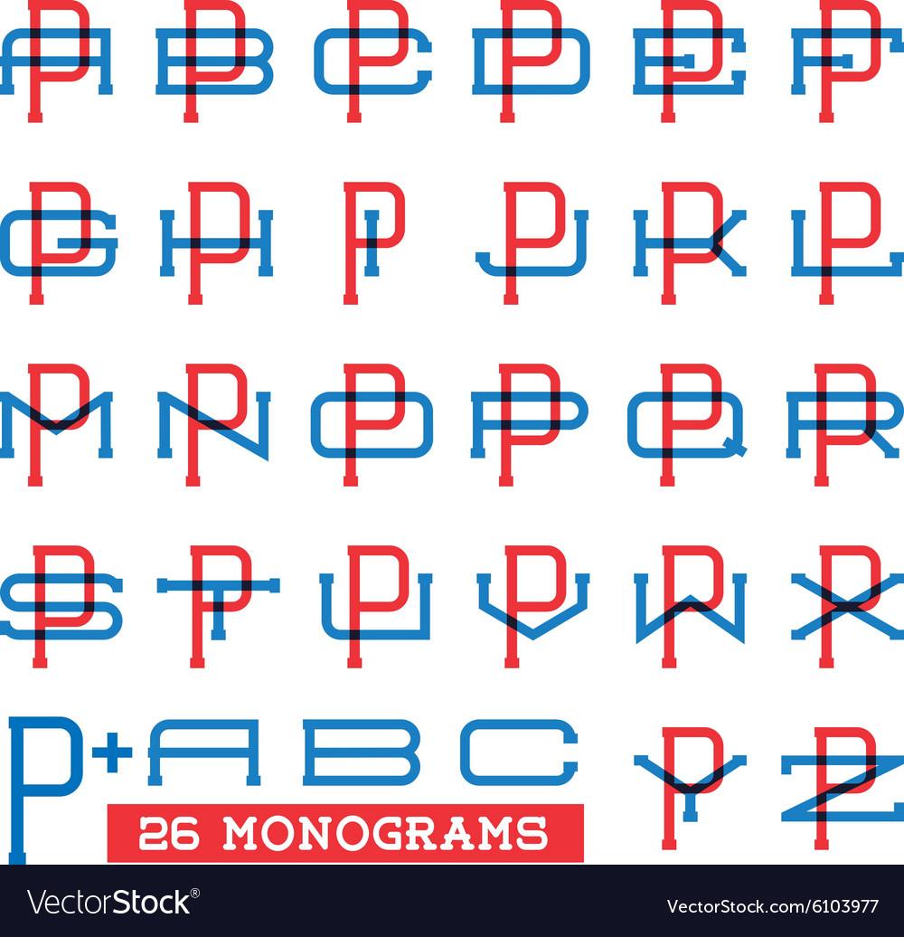 College sport team logo set Two overprint letters