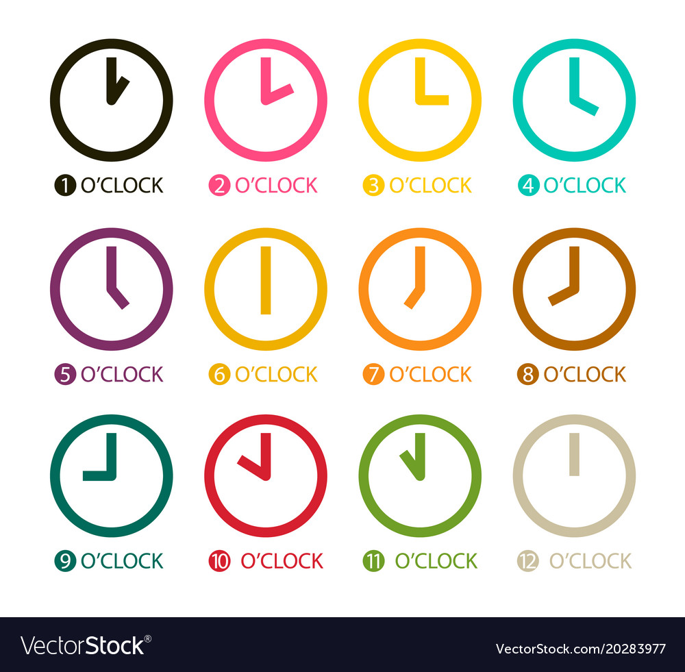 Colorful clock icons set isolated on white