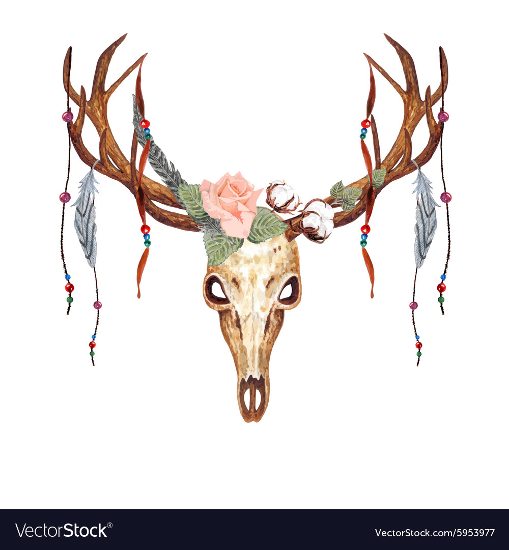 Deer Skull Rose Bead