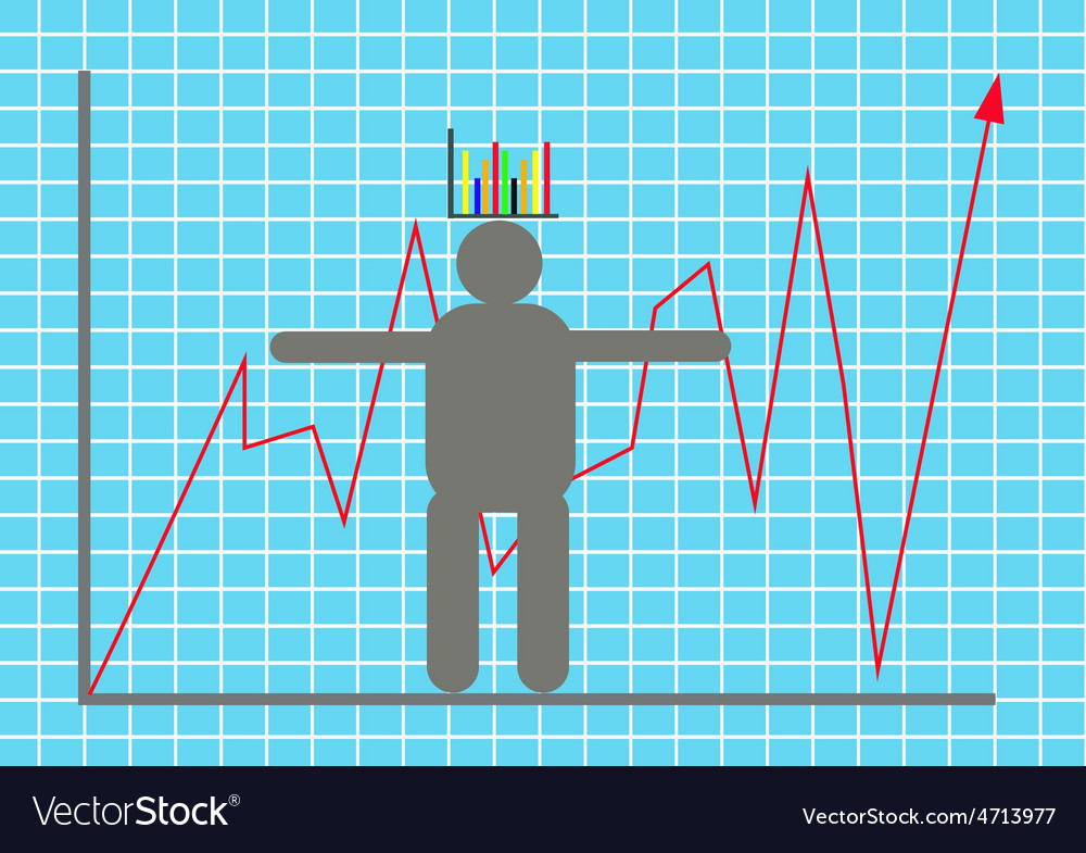 Display stock market goes up and down with model b vector image
