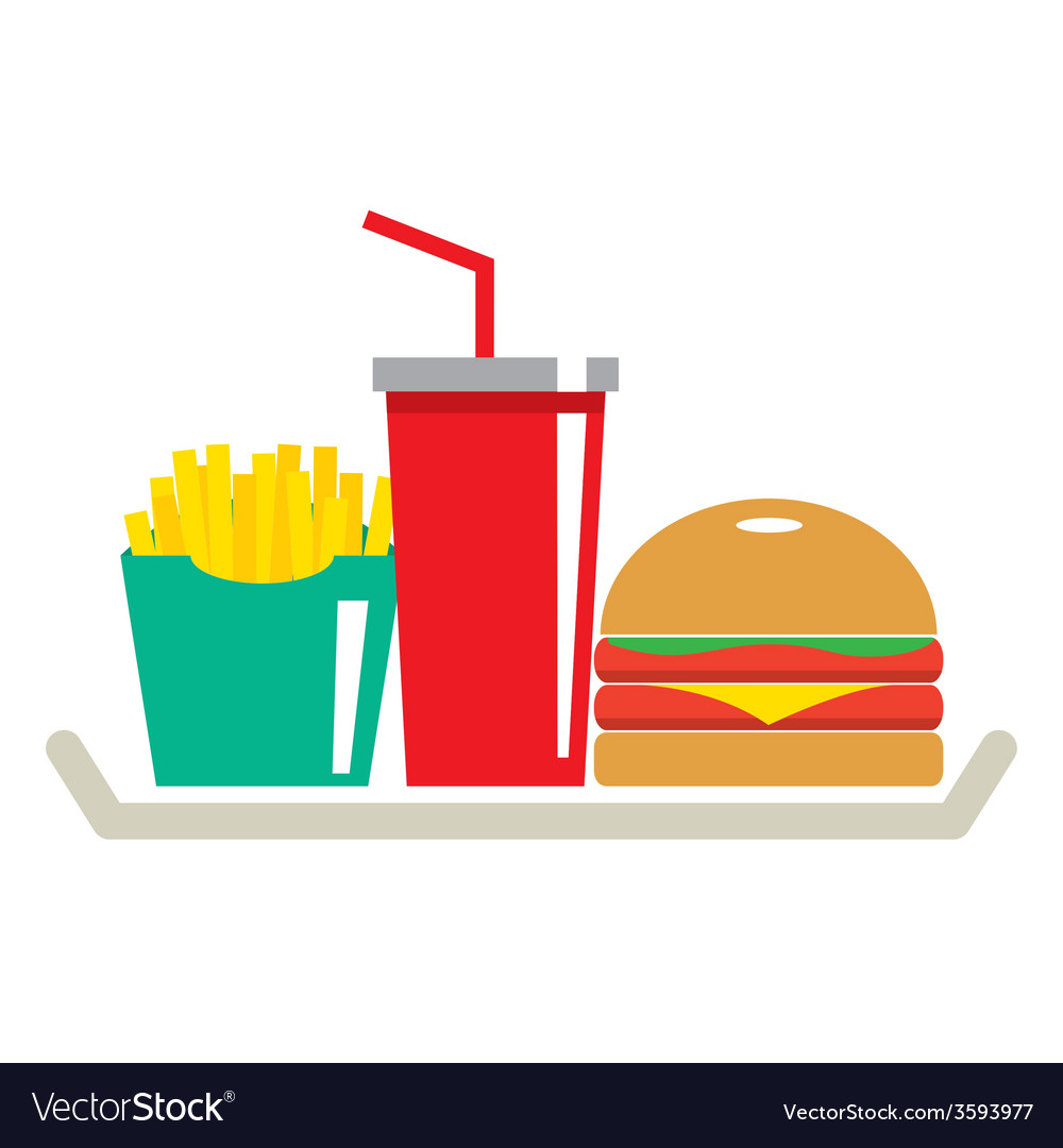 Hamburger French Fries And A Glass Of Cola In Tray