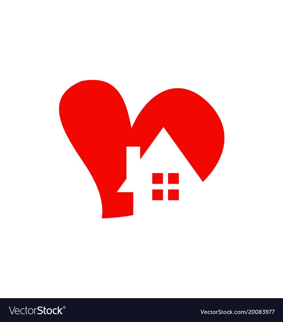 Love heart house logo